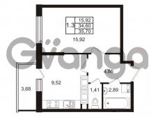 Продается квартира 1-ком 34.6 м² Комендантский проспект 53к 1, метро Комендантский проспект