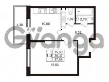 Продается квартира 1-ком 36.37 м² Комендантский проспект 53к 1, метро Комендантский проспект