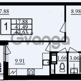 Продается квартира 1-ком 42.63 м² проспект Маршала Блюхера 11к А, метро Лесная