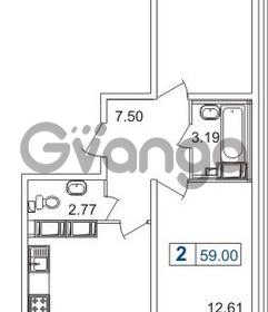 Продается квартира 2-ком 59 м² Русановская улица 15к 1, метро Пролетарская