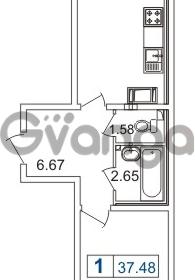 Продается квартира 1-ком 37.48 м² шоссе в Лаврики 74к 1, метро Девяткино