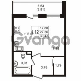 Продается квартира 1-ком 30.17 м² Севастопольская улица 14, метро Нарвская
