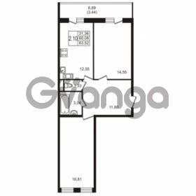Продается квартира 2-ком 63.52 м² Севастопольская улица 14, метро Нарвская