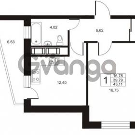 Продается квартира 1-ком 43.11 м² улица Катерников 1, метро Проспект Ветеранов