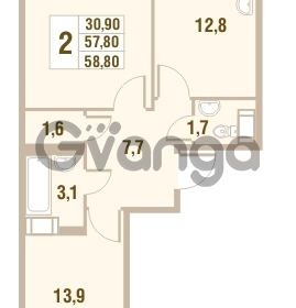Продается квартира 2-ком 57.8 м² Областная улица 1, метро Улица Дыбенко