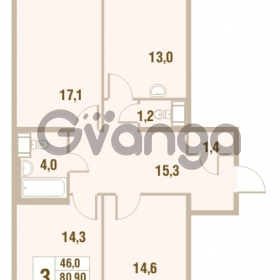Продается квартира 3-ком 80.9 м² Областная улица 1, метро Улица Дыбенко