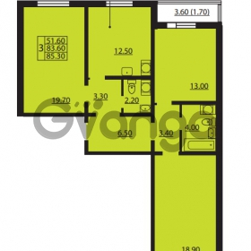Продается квартира 3-ком 83.6 м² Южное шоссе 110, метро Международная