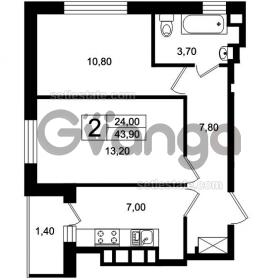Продается квартира 2-ком 43 м² Цветочная, 9