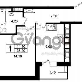 Продается квартира 1-ком 36 м² Цветочная, 9