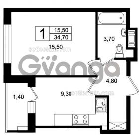 Продается квартира 1-ком 34 м² Цветочная, 9