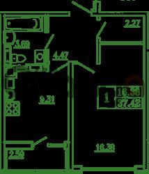Продается квартира 1-ком 37 м² Карташева