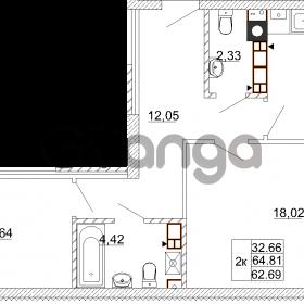Продается квартира 2-ком 64 м² Карамзина