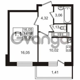 Продается квартира 1-ком 34.58 м² улица Адмирала Черокова 18к 3, метро Проспект Ветеранов
