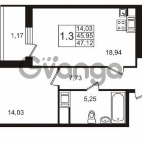 Продается квартира 1-ком 44.9 м² улица Адмирала Черокова 18к 3, метро Проспект Ветеранов