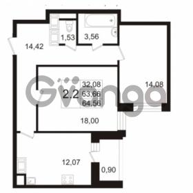 Продается квартира 2-ком 63.4 м² улица Адмирала Черокова 18к 3, метро Проспект Ветеранов