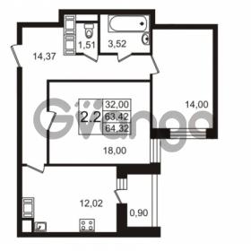Продается квартира 2-ком 63.7 м² улица Адмирала Черокова 18к 3, метро Проспект Ветеранов