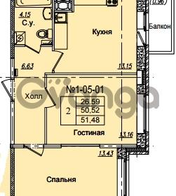 Продается квартира 2-ком 51.48 м² Приреченская улица 1, метро Рыбацкое