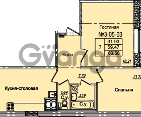 Продается квартира 2-ком 60.58 м² Приреченская улица 1, метро Рыбацкое