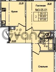 Продается квартира 2-ком 57.55 м² Приреченская улица 1, метро Рыбацкое