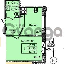 Продается квартира 1-ком 33.75 м² Приреченская улица 1, метро Рыбацкое