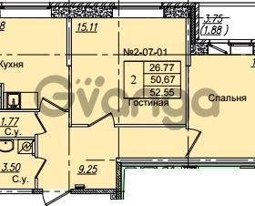 Продается квартира 2-ком 52.55 м² Приреченская улица 1, метро Рыбацкое