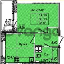 Продается квартира 1-ком 35.01 м² Приреченская улица 1, метро Рыбацкое
