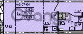 Продается квартира 1-ком 27.93 м² Приреченская улица 1, метро Рыбацкое