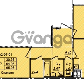 Продается квартира 2-ком 65.93 м² Приреченская улица 1, метро Рыбацкое