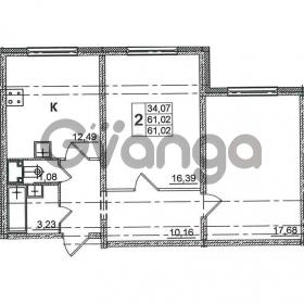 Продается квартира 2-ком 61.02 м² Дунайский проспект 14, метро Звездная