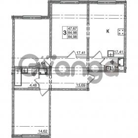 Продается квартира 3-ком 84.98 м² Дунайский проспект 14, метро Звездная