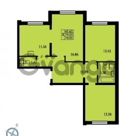 Продается квартира 3-ком 74.05 м² Дунайский проспект 14, метро Звездная