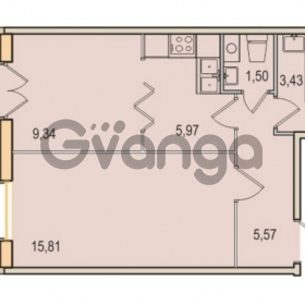 Продается квартира 1-ком 41.62 м² Малый проспект В.О. 52, метро Василеостровская