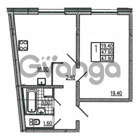 Продается квартира 1-ком 47.9 м² Витебский проспект 101к 3, метро Купчино