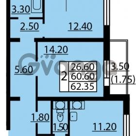 Продается квартира 2-ком 62.35 м² Витебский проспект 101к 3, метро Купчино