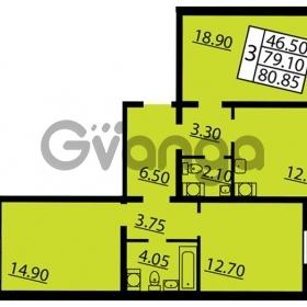 Продается квартира 3-ком 80.85 м² Витебский проспект 101к 3, метро Купчино