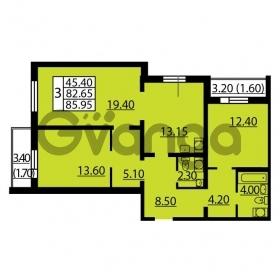 Продается квартира 3-ком 85.95 м² Витебский проспект 101к 4, метро Купчино