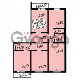 Продается квартира 4-ком 102.3 м² Витебский проспект 101к 4, метро Купчино