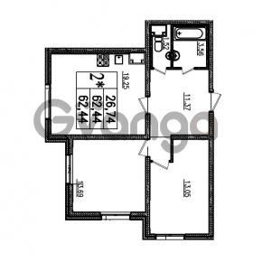 Продается квартира 2-ком 62.44 м² проспект Маршала Блюхера 12Б, метро Лесная
