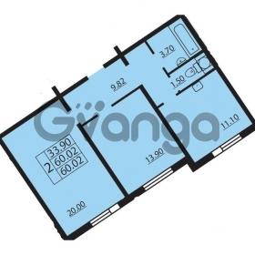 Продается квартира 2-ком 60.02 м² проспект Маршала Блюхера 12Б, метро Лесная
