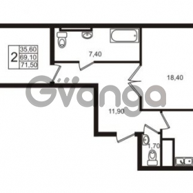 Продается квартира 2-ком 69.1 м² Приморский проспект 44, метро Старая деревня