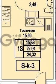 Продается квартира 1-ком 24.32 м² Питерский проспект 1, метро Проспект Ветеранов