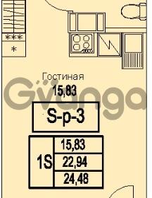 Продается квартира 1-ком 24.48 м² Питерский проспект 1, метро Проспект Ветеранов