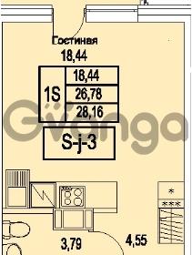 Продается квартира 1-ком 28.16 м² Питерский проспект 1, метро Проспект Ветеранов