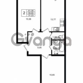 Продается квартира 2-ком 59.69 м² Приозерское шоссе 1, метро Парнас