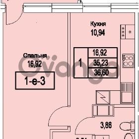 Продается квартира 1-ком 36.6 м² Питерский проспект 1, метро Проспект Ветеранов
