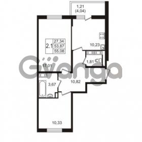 Продается квартира 2-ком 53.87 м² улица Пионерстроя 27, метро Проспект Ветеранов