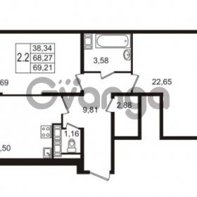 Продается квартира 2-ком 68.27 м² улица Пионерстроя 27, метро Проспект Ветеранов