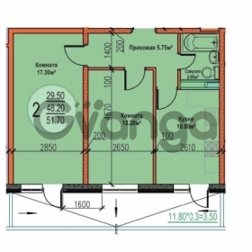 Продается квартира 2-ком 51.7 м² Российская улица, 267/1лит1