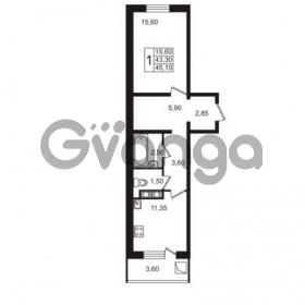 Продается квартира 1-ком 45.1 м² Привокзальная улица 1, метро Купчино