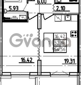 Продается квартира 1-ком 54.56 м² проспект Тореза 118, метро Озерки